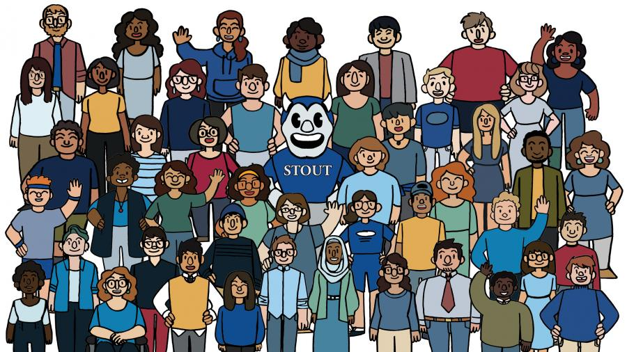 Hand-drawn cartoon of group of diverse students welcoming with Blaze mascot in the center