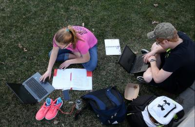 Students studying on the lawn.